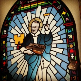 Console Saint – Stained Glass Window Made From Cut Paper