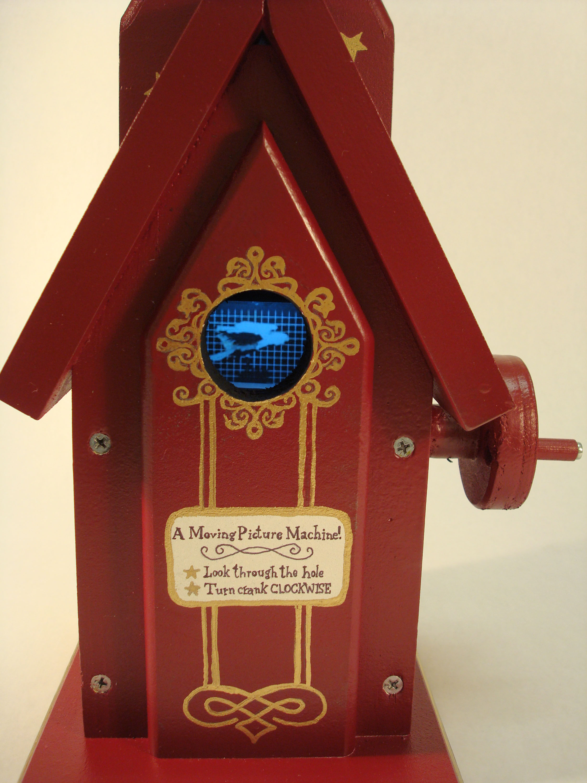 """Peep Show"" birdhouse Mutoscope"